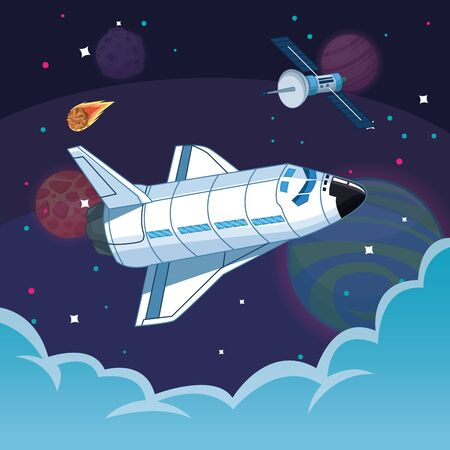 Spaceship flying in the space with meteor and satellite vector illustration graphic design  イラスト・ベクター素材