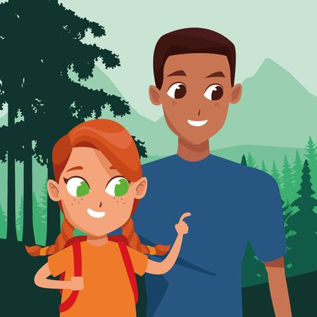 Family single father with daughter holding backpack cartoon in the nature landscape background ,vector illustration.