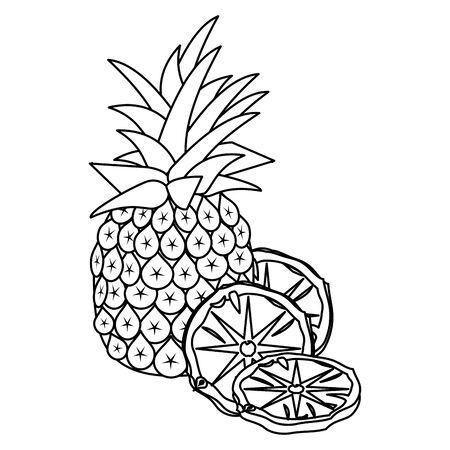 pineapple slices and fruit over white background, vector illustration Illustration