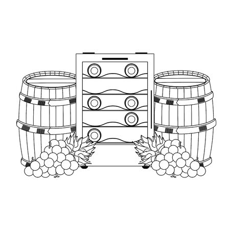 wine wooden barrels and wine fridge and bunch of grapes over white background, vector illustration Illusztráció