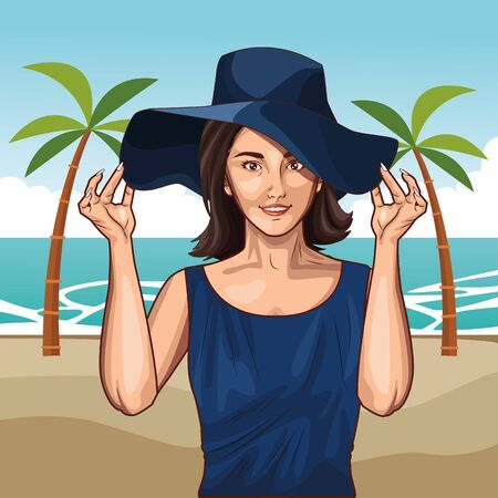 Pop art beautiful woman with summer hat profile cartoon in the beach scenery with palms ,vector illustration graphic design. Ilustração