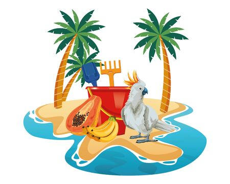 summer beach and vacation with sand bucket with slove and rake toys, cockatoo and tropical fruit icon cartoon over the sand with palms vector illustration graphic design Ilustração