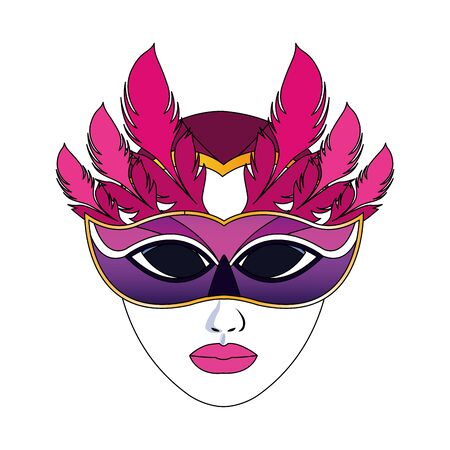 colorful Design of mardi gras mask with feathers icon over white background, vector illustration