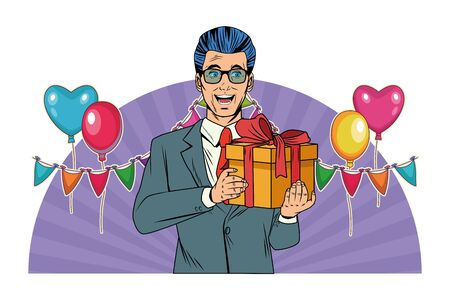 man avatar with gift box with glasses wearing suit profile picture cartoon character portrait with colorful and strips background