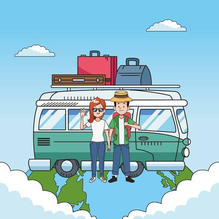 travel van and couple of tourists over blue background, colorful design. vector illustration