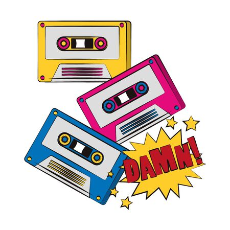 retro cassettes and pop art damn word exclamation over white background, vector illustration