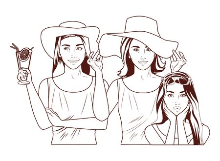 Pop art beautiful fashion women smiling in summer cartoon in black and white ,vector illustration graphic design.