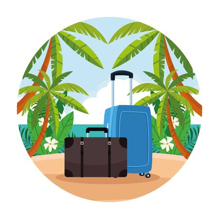Beach with travel luggage scenery round icon cartoons vector illustration graphic design