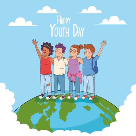 Happy youth day card with teenagers cartoons on earth world ,vector illustration graphic design. Vectores