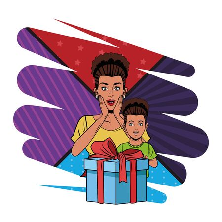 afroamerican woman avatar and afro american girl with a gift box profile picture cartoon character portrait with colorful pop art Vecteurs