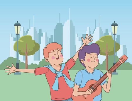 Teenagers friends playing guitar and singing cartoon in the city park, nature and cityscape background ,vector illustration graphic design. Иллюстрация