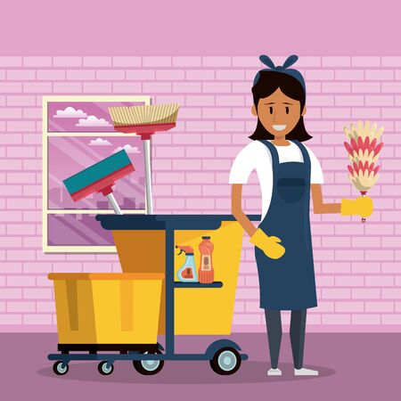 Cleaner smiling and working with cleaning product in home scenery vector illustration