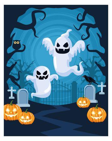 halloween dark scene with ghosts and pumpkins in cemetery vector illustration design