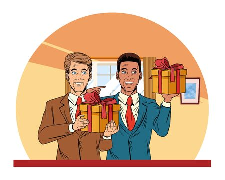 men avatar afroamerican man wearing suit holding a gift boxes profile picture cartoon character portrait with colorful house Vecteurs