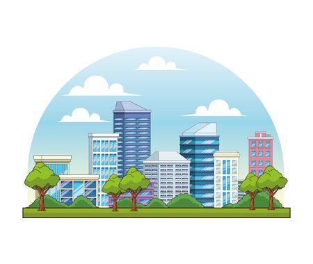 City buildings and park with trees urban scenery cartoons ,vector illustration graphic design.