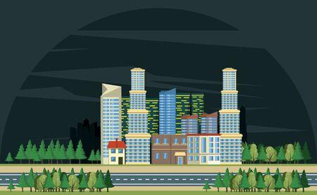 Urban buildings with cityscape at night horizontal scenery banner vector illustration graphic design Illusztráció