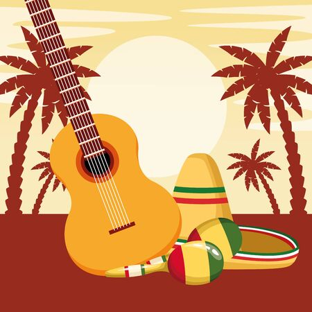 mexican traditional culture with guitar, maracas and mexican hat icon cartoon in sunny landscape with palms silhouette vector illustration graphic design
