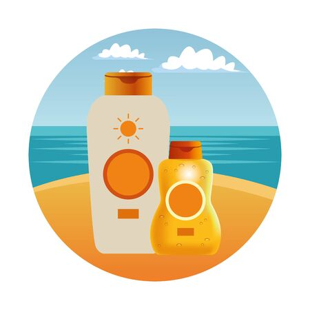 Sun bronzers bottles cosmetic products on beach scenery background ,vector illustration graphic design. Illustration