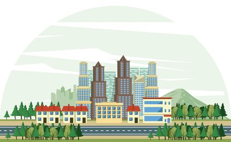 Urban buildings with cityscape horizontal scenery banner vector illustration graphic design