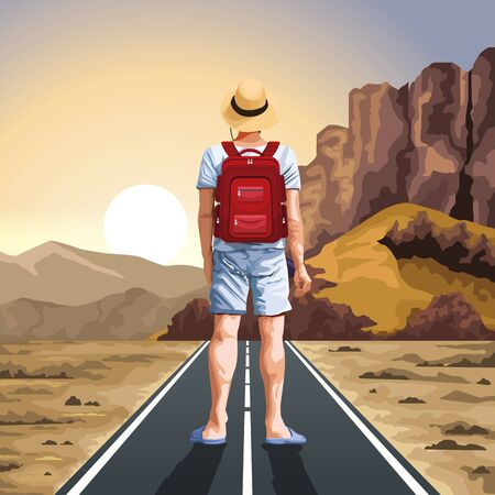 Backpack traveler looking horizont on highway at desert nature vector illustration graphic design.