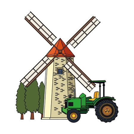 windmill and farm truck icon over white background, vector illustration Иллюстрация