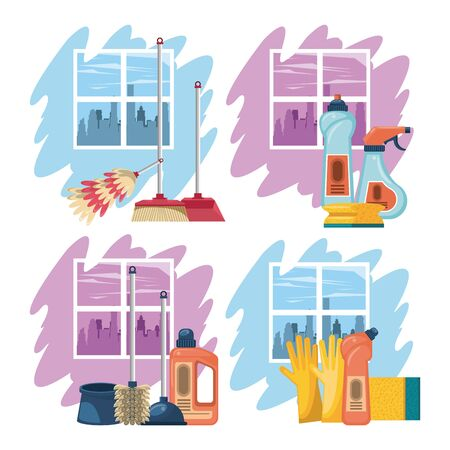 Cleaning products for home, soap bottles, brushes,gloves and sponges vector illustration