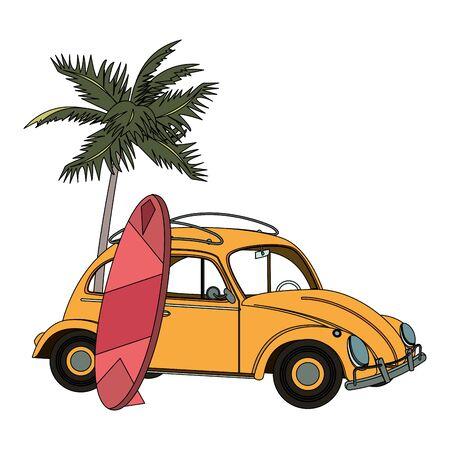 tropical summer relax holiday outdoor , vintage surf table with retro car at beach cartoon vector illustration graphic design Ilustración de vector