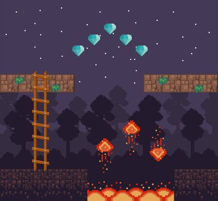 Retro videogame night forest at night scenery with diamonds and lava with lava vector illustration. 向量圖像