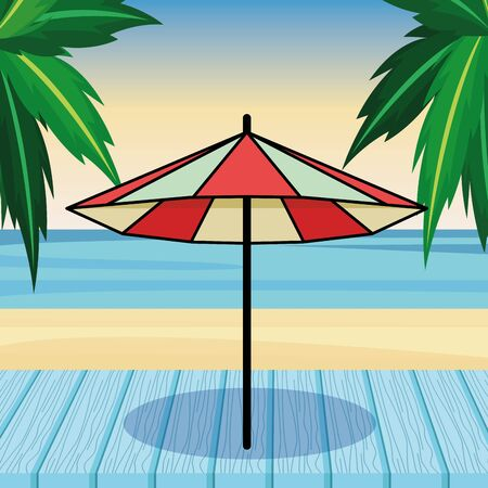 beach striped umbrella open cartoon on beach scenery background vector illustration graphic design Vector Illustration