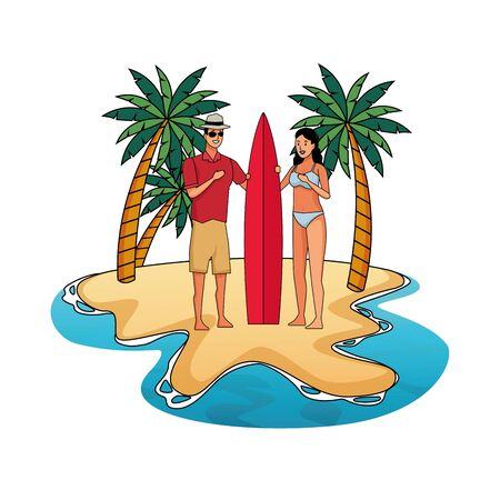 Young couple enjoying summer in swimsuit with surf table on beach scenery vector illustration graphic design