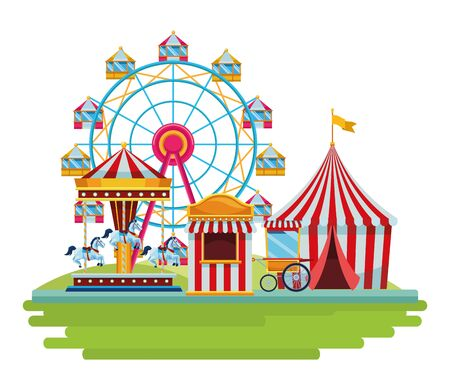amusement park and circus fun and chicago wheel big top carousel fair shop isolated vector illustration graphic design Фото со стока - 132409612