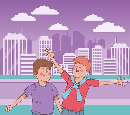 teenager friends boys jumping and smiling in the city park, nature and cityscape background ,vector illustration graphic design.