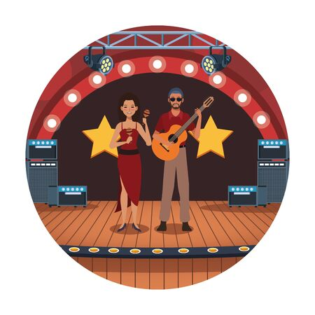 jazz music band design with lady dancer with maracas and musician with guitar in stage over white background, vector illustration