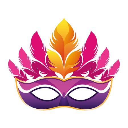 Masque de carnaval rose avec des plumes sur fond blanc, vector illustration