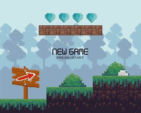 Retro videogame new game press start screenplay with scenery, videogame items and levels, gamers concept. vector illustration. Illustration