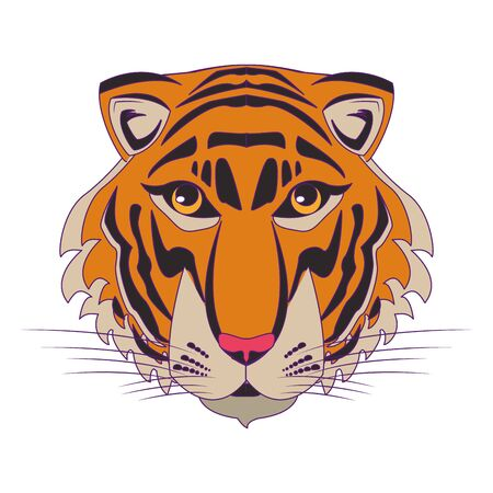 bengal tiger face icon cartoon vector illustration graphic design Vectores