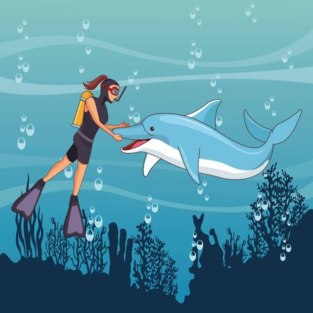 scuba diver avatar woman diving with happy dolphin at the bottom of the sea with underwater vegatation vector illustration graphic design Illustration
