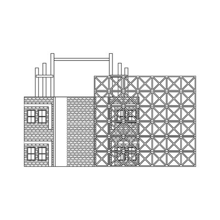 construction architectural engineering work, house under construction process cartoon vector illustration graphic design Ilustração