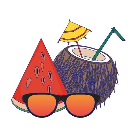 Summer sunglasses cartoons drinks and cocktails vector illustration graphic design Illusztráció