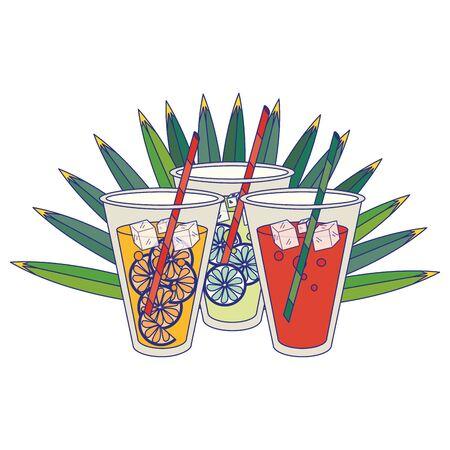 Summer drinks on leaves cartoons isolated vector illustration graphic design Illusztráció