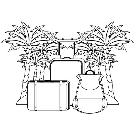 Summer and beach with luggage vacations cartoons vector illustration graphic design