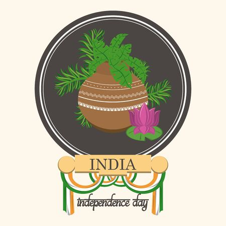 India independence day card with patriotic monuments and emblems, poster holiday, lotus flowers and flag. vector illustration