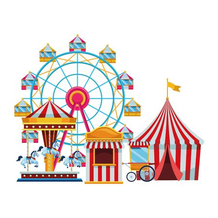 amusement park and circus fun and chicago wheel big top carousel fair shop isolated vector illustration graphic design Иллюстрация