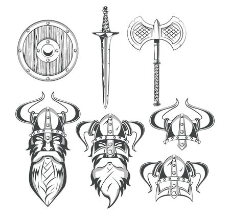 Vikings warriors and weapons set of drawings collection vector illustration graphic design
