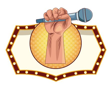 hand with microphone icon cartoon pop art round icon vector illustration graphic design
