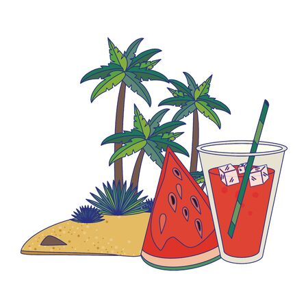 Summer watermelon drinks and cocktails on beach vector illustration graphic design Illusztráció