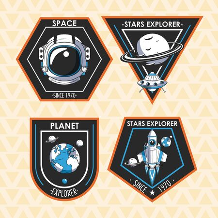 Set of Space explorer patches emblems with astronaut, UFO and spaceship design vector illustration graphic design