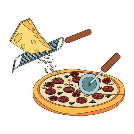 grated cheese falling over italian pizza over white background, vector illustration