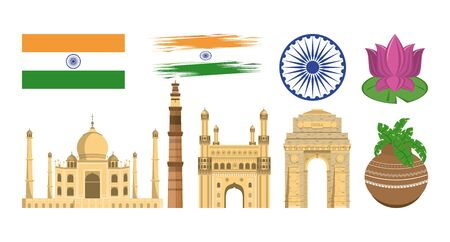 India set of monuments and emblems icons collection isolated