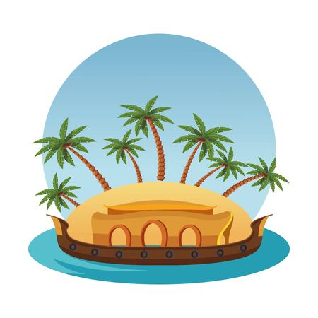 hindu ganges barge with a island and palms icon cartoon vector illustration graphic design  イラスト・ベクター素材